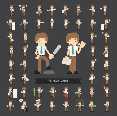 hombre de negocios: Conjunto de caracteres empresario, formato vectorial eps10