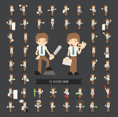 young businessman: Set of businessman character , eps10 vector format Illustration