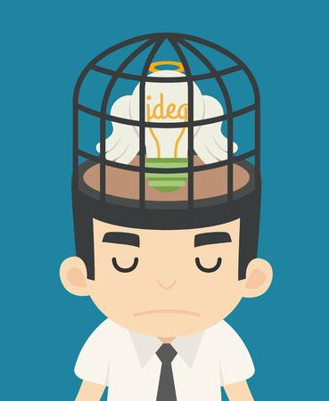 birdcage: Businessman idea inside the birdcage , eps10 vector format