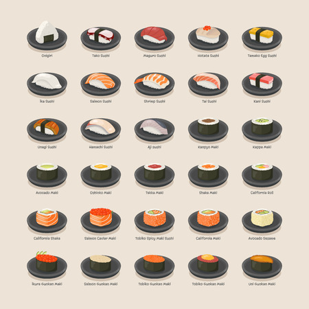 egg roll: Sushi set format