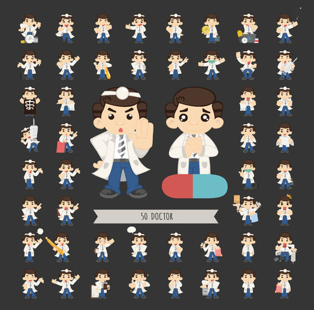 Set of doctor characters poses Stock Vector - 40301968