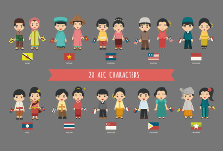 asian business woman: Set of asian men and women in traditional costume with flag Illustration