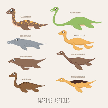 reptiles: Set of Marine reptiles dinosaurs Illustration