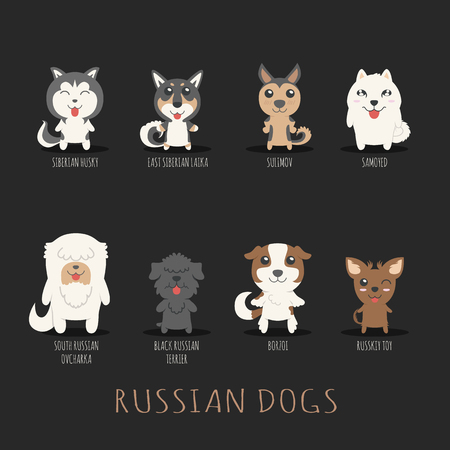 borzoi: Set of russian dogs