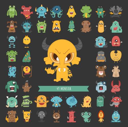 personnage: Jeu de caractères de monstre poses