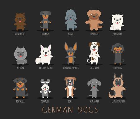 boxer dog: Set of german dogs Illustration
