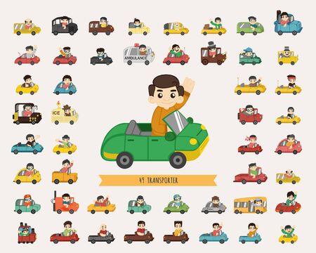 tren caricatura: Conjunto de caracteres transportadoras Vectores