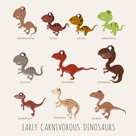 early: Set of Early carnivorous dinosaurs