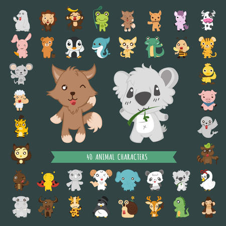 Set of Animal costume characters  イラスト・ベクター素材