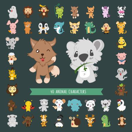 hipopotamo cartoon: Conjunto de caracteres del traje de animales