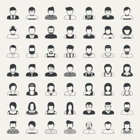 emberek: Üzleti ikonok és az emberek ikonok Illusztráció