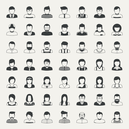 portrait: Business icons and people icons Illustration
