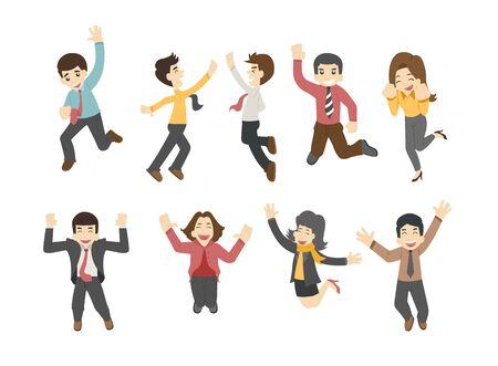 happy woman: Businessman jumping