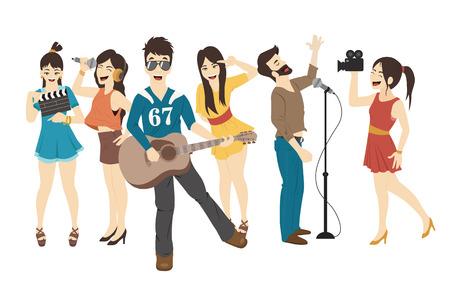 cartoon star: Conjunto de Singer y m�sicos Vectores