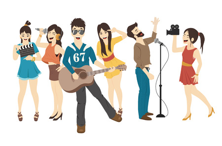 cartoon singing: Set of Singer and musicians Illustration