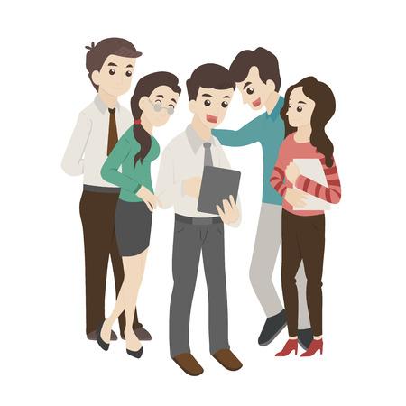 chicas adolescentes: Grupo de hombre de negocios y la mujer mira algo en una tablilla
