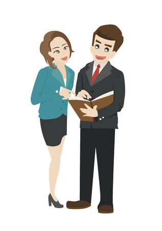 uniformes de oficina: La gente de negocios la lectura de un documento en conjunto Vectores
