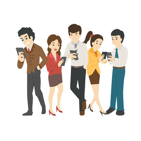 Businessman and woman looking at their phones
