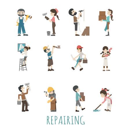 Illustraties van huis reparatie Stock Illustratie