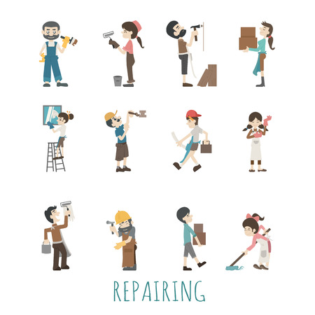worker cartoon: Illustrations of house repair