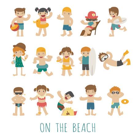 ni�os nadando: La gente en la playa