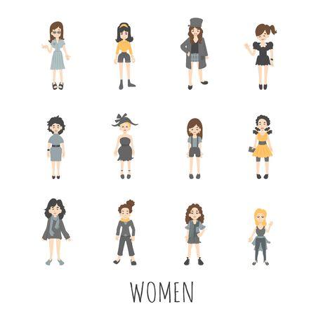 gesture set: Women set , eps10 vector format