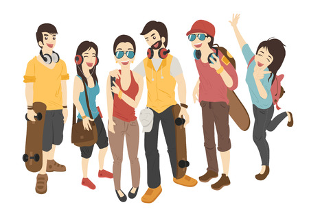 teenagers laughing: International friends stand with skateboards   , eps10 vector format
