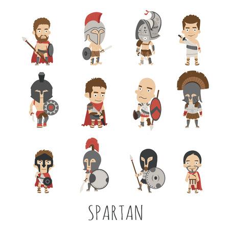 soldati romani: Set di spartani personaggi in costume soldato, formato eps10 vettore Vettoriali