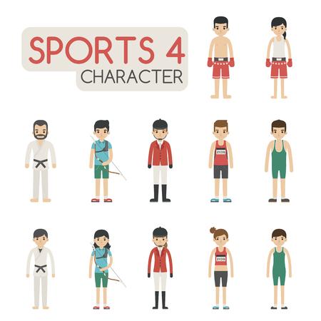 kick boxing: Set of cartoon sport characters , eps10 vector format Illustration