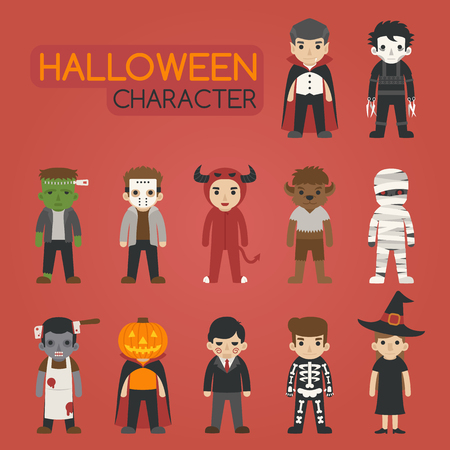 calavera caricatura: Conjunto de caracteres del traje de halloween, truco o, formato vectorial eps10
