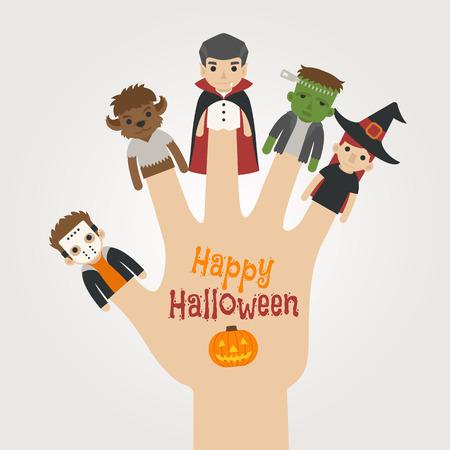 brujas caricatura: Monstruos Finger halloween, feliz halloween, formato vectorial eps10