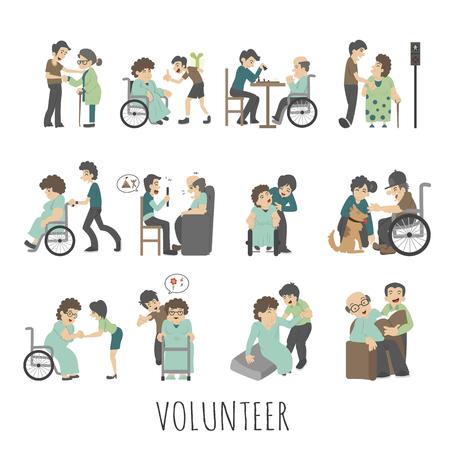 personas mayores: Conjunto de voluntariado joven, formato vectorial eps10 Vectores