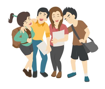 deportes caricatura: Grupo de estudiantes sonrientes adolescentes, formato vectorial eps10