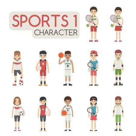 jugador de futbol: Conjunto de personajes de dibujos animados deportivos, formato vectorial eps10