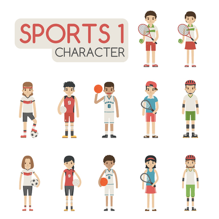 rollerblade: Set of cartoon sport characters , eps10 vector format Illustration