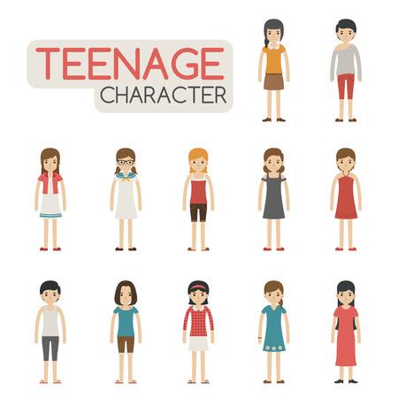 10 代の若者の漫画のキャラクター、eps10 ベクター形式のセット  イラスト・ベクター素材