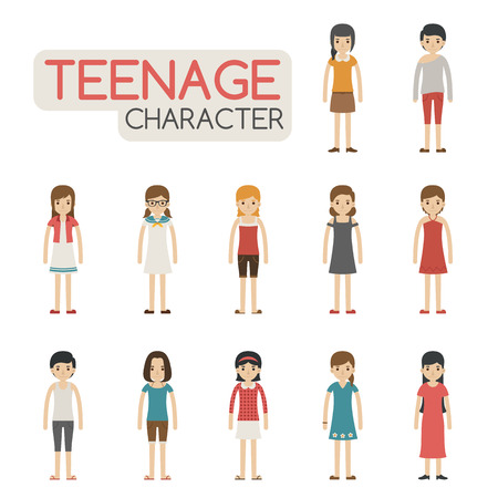 Set of cartoon teenagers characters , eps10 vector format