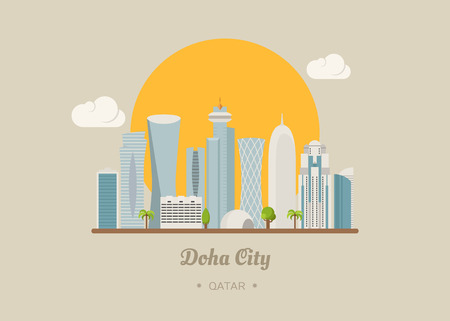 edificio: , Formato vectorial eps10 Doha Qatar edificios famosos