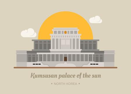 central park: Kumsusan palace of the sun , North Korea , eps10 vector format