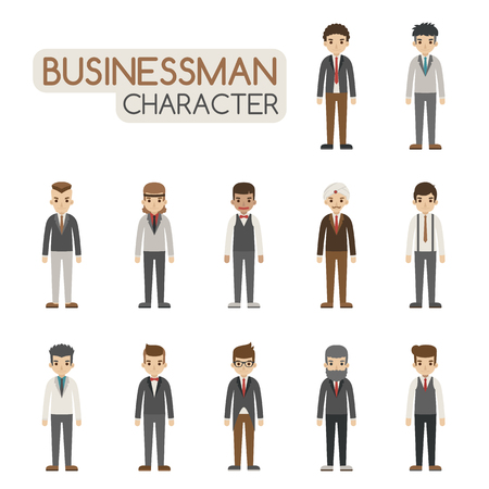 man standing: Set of businessman costume characters , eps10 vector format Illustration