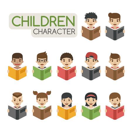 children learning: Set of cartoon children reading books , eps10 vector format