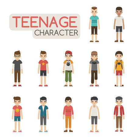 friends together: Set of cartoon teenagers characters , eps10 vector format