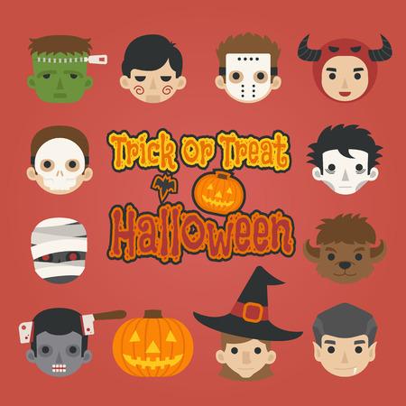 treats: Sistema de la cabeza de halloween, truco o, en formato vectorial eps10 Vectores