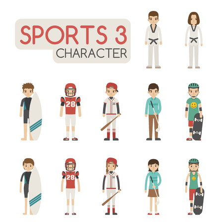 football player: Set of cartoon sport characters , eps10 vector format Illustration