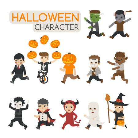 Set of halloween costume characters , trick or treat , eps10 vector format