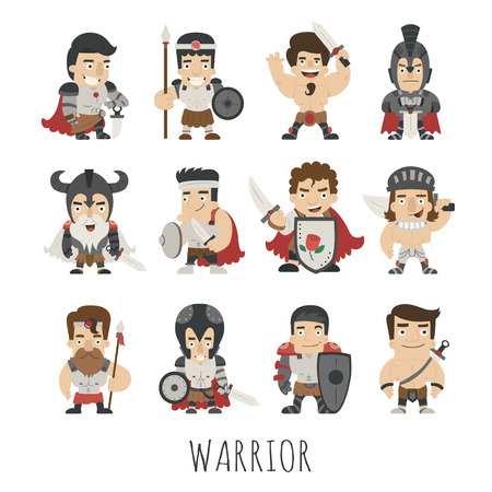 Set of warrior costume characters , eps10 vector format Çizim