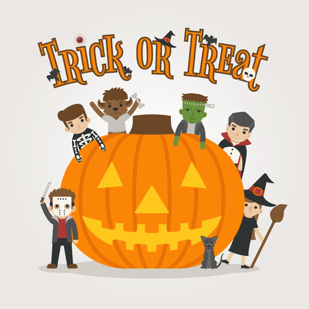 treats: Conjunto de caracteres del traje de halloween, feliz halloween, truco o, formato vectorial eps10 Vectores