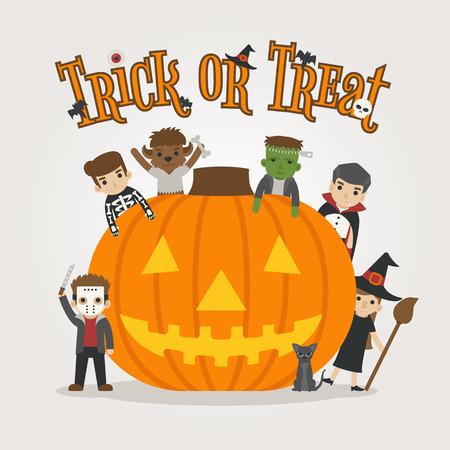 treats: Set of halloween costume characters , happy halloween , trick or treat , eps10 vector format