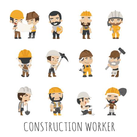 arquitecto caricatura: Contractors personas de los trabajadores, en formato vectorial eps10