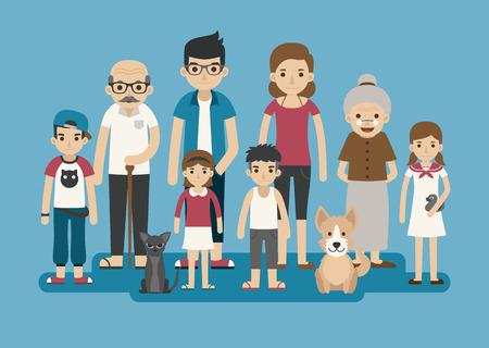 insanlar: Büyük mutlu bir aile karakteri Set, eps10 vektör biçimi Çizim